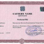 Сертификат питомника FIFe